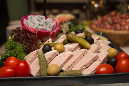cold cut: Assorted fresh cold cut platter  served as a cold buffet