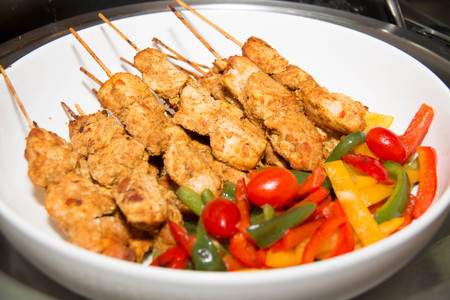 meat skewers: BBQ   chicken meat skewers with and peppers