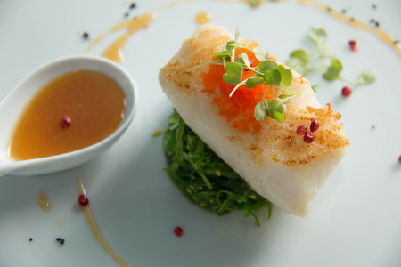 entree: Gourmet Main Entree Course Grilled Snow Fish with  sauce.