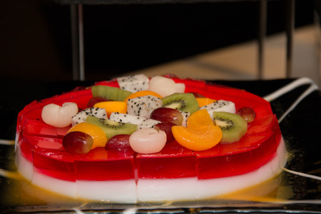 fruity salad: Delicious multi - layered fruit jelly made from  fresh fruit and slice