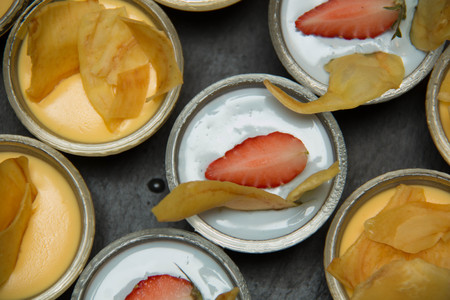close together: appetizer catering Many small desserts close together Stock Photo