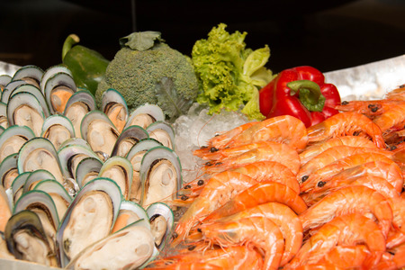 ice crushed: A seafood on crushed ice, close-up. Stockfoto