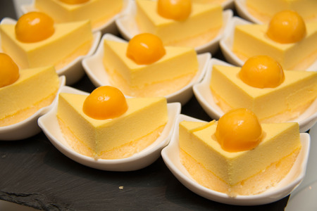 fancy cake: Food series: mango fancy cake with yellow fruit jelly. Stock Photo