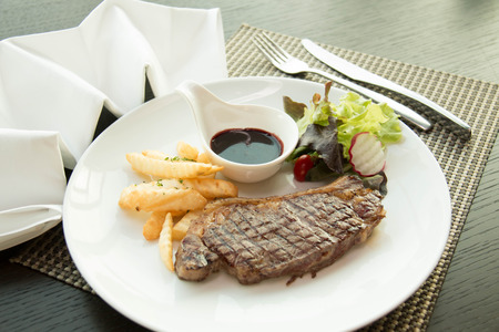 sirloin: Sirloin steak with Vegetables on the plate