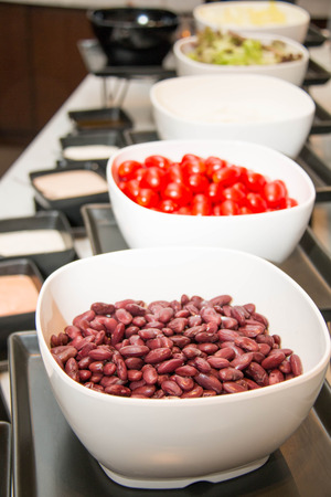 vegeterian: Vegeterian salad red  beans in bowl close up Stock Photo