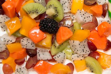tropica: A Mixed  tropica fruit background, close-up