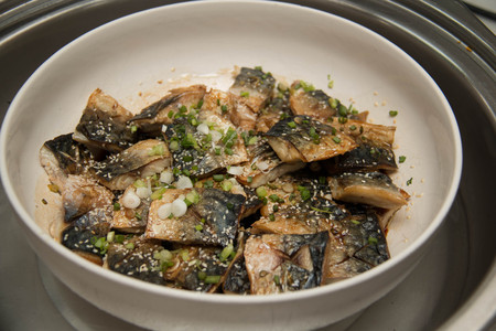seawater: Grill Saba, Japanese seawater fish, with sauce and vegetable Stock Photo