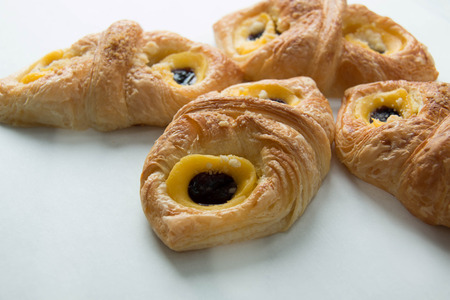 danish puff pastry: Danish pastry with blueberry on white background.