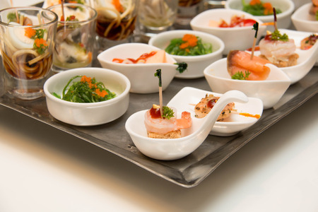 shrimp cocktail: various of food cocktail menu on a try Stock Photo