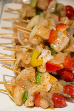 A  Seafood skewer shrimp squid prawn fish bell pepper Shallot