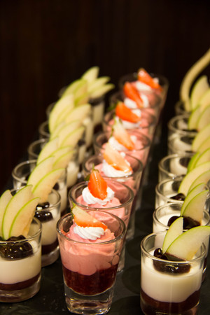 Delicate panacotta cocktail decorated with filling Stock Photo