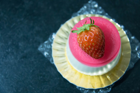 A Strawberry jelly and white mousse cake  Stok Fotoğraf