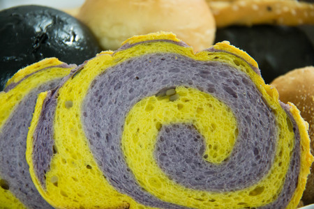 This is a close-up of various types of bread. Stock Photo