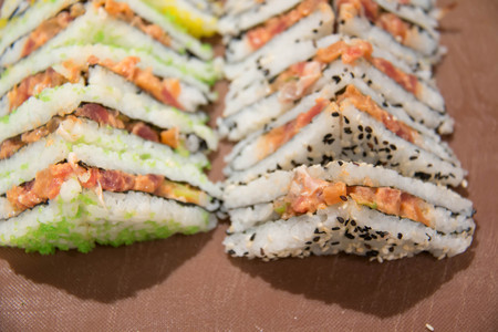 A Japanese sushi salmon on a buffet