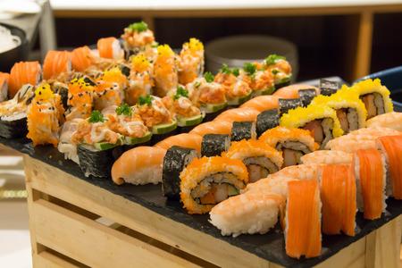 Japan sushi and roll set  menu traditional Imagens