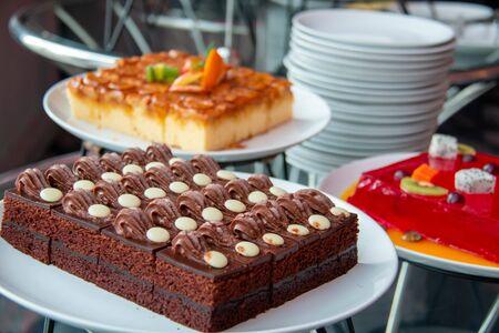 A chocolate cake on white cake Stock Photo
