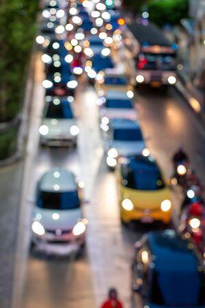 A blur transportation jam in city