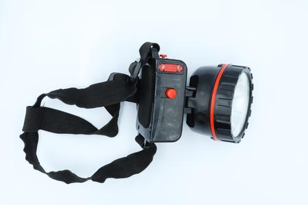 head flashlight isolated on white background.