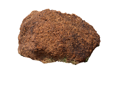 Laterite : Laterite is a soil and rock type rich in iron and aluminium and is commonly considered to have formed in hot and wet tropical areas. isolated on white background High resolution image galle Stock Photo