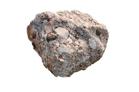 Esemplare naturale di conglomerato - roccia sedimentaria composta da ghiaia e ciottoli arrotondati o sub-arrotondati cementati da carbonato di calcio, isolati su sfondo bianco Galleria di immagini ad alta risoluzione.