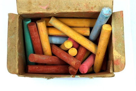 color chalks stick in old paper box isolated on white background High resolution image gallery.