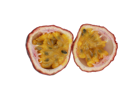 Passion fruit isolated. a half of maracuya isolated on white background. Clipping path included
