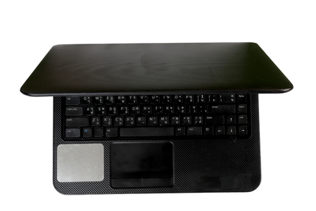 laptop with empty space, black laptop, thai keyboard,  isolated on white background