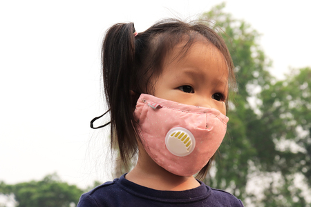 Asian child wearing mask prevent, protection factor for N95 Filtering face mask-safty white mask.