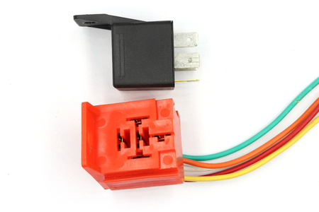 Coil Power Relay, magnetic contactor, 12v auto part with socket isolated on white background. High resolution image gallery.