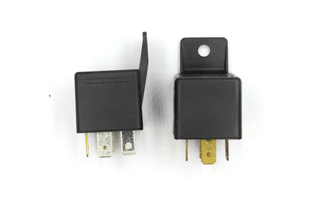 Electric relay, Electrical Auxiliary Relay, Coil Power Relay, magnetic contactor, 12v auto part isolated on white background. High resolution image gallery. 版權商用圖片
