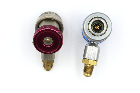 Quick coupler contains r134a adapter for refrigerant tank,  ac coupler, air coupler High resolution image gallery. Stock Photo