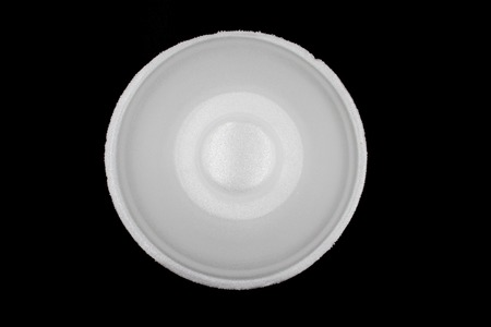 White Empty Foam Cup, polystyrene , foam bowl isolated on black background. High resolution image gallery.