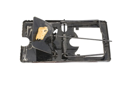 steel mouse trap and bait, dirty mouse trap isolated on white background High resolution image gallery.