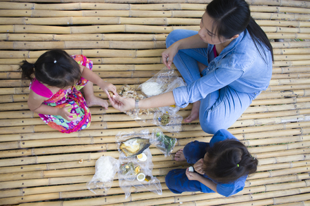 Asian  family having picnic outdoors High resolution image gallery.