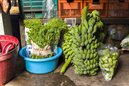 CHIANGMAI,THAILAND-JUN 3,2019 : vegetables from farm prepare for sale in chiangmai market. High resolution image gallery. Editorial