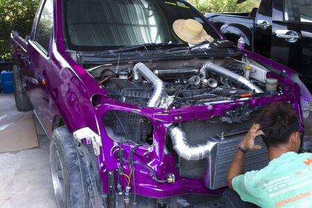CHIANGMAI,THAILAND-MAY 24,2019 : racing truck in Joe 39 garage. Repair service High resolution image gallery.