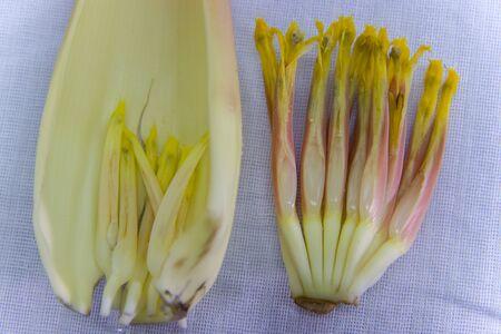 pilled bract of banana blossom, prepare bananas bud for cook or salad. High resolution image gallery.