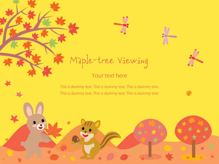 A postcard of a rabbit and a squirrel in the autumn maple-tree viewing