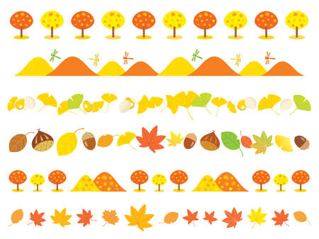 Line of the autumn maple leaves, mountain, ginkgo and acorn