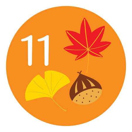 Season illustration icon of an chestnut and fall foliage on November for the calendar. Illustration
