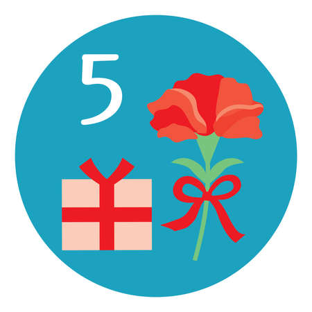 An illustration icon of a carnation of the Mother's Day on May for a calendar.