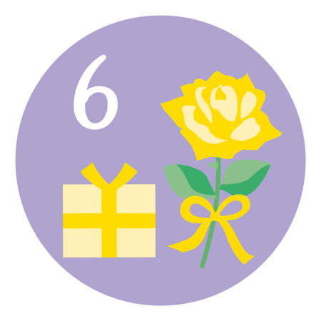 An illustration icon of rose of the Father's Day on Jun for a calendar.