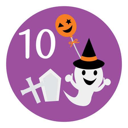 An illustration icon of Halloween on October for a calendar. Ilustración de vector