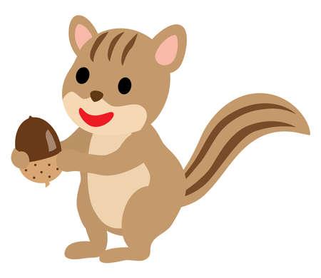 A pretty squirrel with an acorn