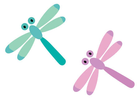 Illustration of the purple and blue green dragonflies