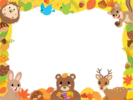 Autumn frame of leaves and cute animals in the forest