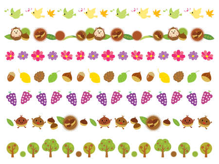 Line of autumn tree, chestnut, grape and cute animals