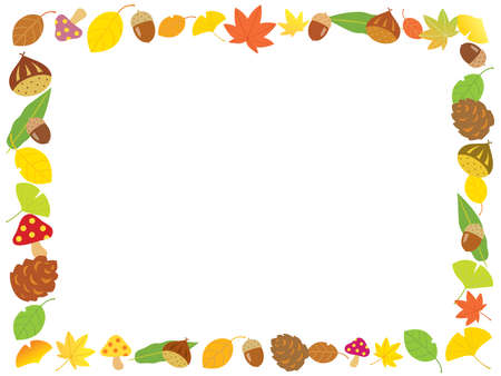 Autumn frame of chestnuts, acorns, and colored leaves