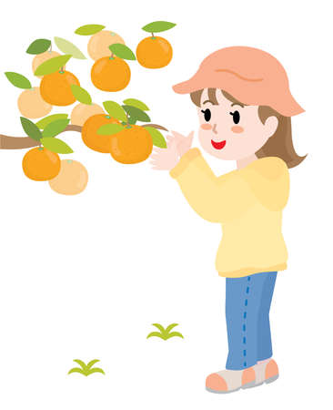 The girl who does mandarin orange picking.