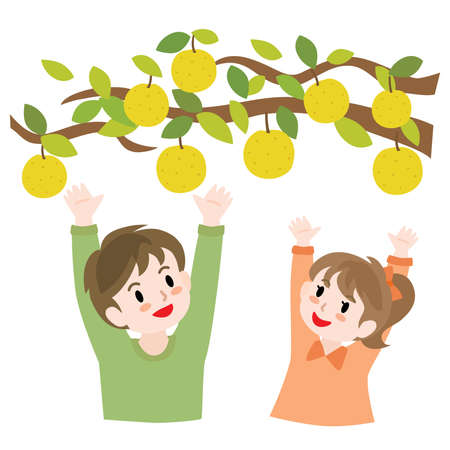 Children going pear picking in the orchard 矢量图像